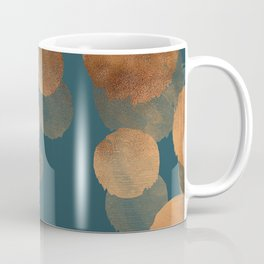 Metal Copper Dots on Emerald Coffee Mug