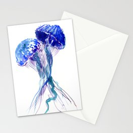 Jellyfish, Aqua Blue Marine Beach Art Stationery Cards
