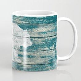 Rustic White Bear on Blue Wood Lodge Art A231b Coffee Mug