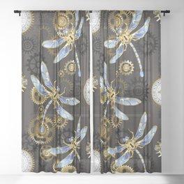Steampunk Dragonflies Sheer Curtain