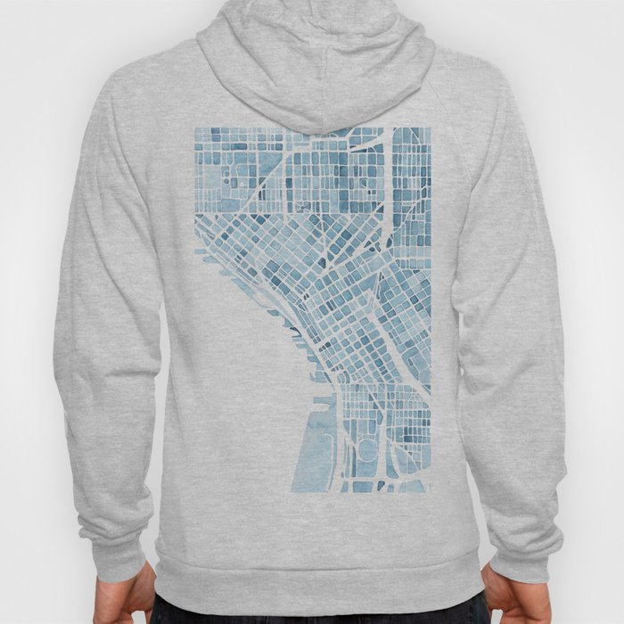 Map Seattle Washington Blueprint watercolor map Hoody