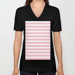 Narrow Horizontal Stripes - White and Pink Unisex V-Neck