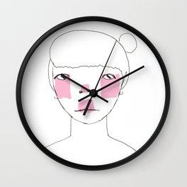 Line Drawing of Girl with Bun  Wall Clock