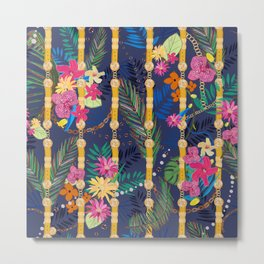 Tropical Flowers Golden Belt and Chain Vibrant Colored Trendy Pattern Metal Print
