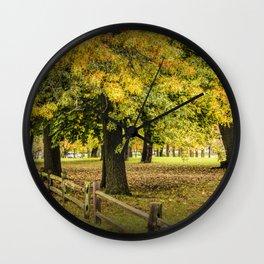 Autumn City Park Scene with Wood Fence Wall Clock