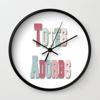 totes Wall Clocks featuring Totes Adorbs by Dena Brender Photography