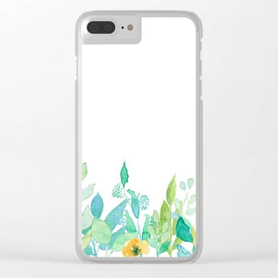flowers in a meadow - Floral watercolor illustration on white background Clear iPhone Case