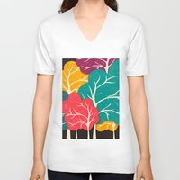 forest V-neck T-shirts featuring Happy Forest by Danny Ivan