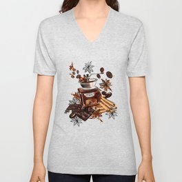 Coffee watercolor pattern with grains coffee mill and chocolate Unisex V-Neck