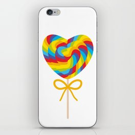 Valentine's Day Heart shaped candy lollipops with bow, colorful spiral candy cane with rainbow iPhone Skin