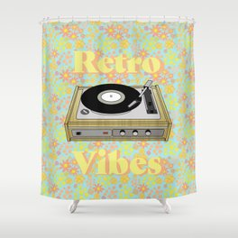 Retro Vibes Record Player Design in Yellow Shower Curtain