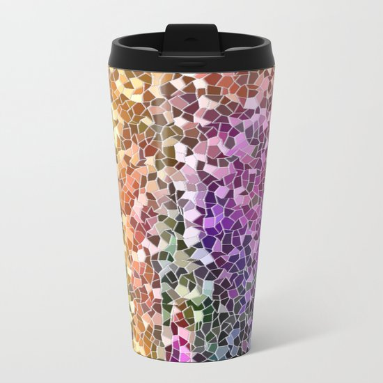 Rainbow Mosaic Metal Travel Mug