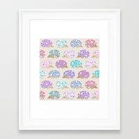 polkadot Framed Art Prints featuring Hedgehog polkadot by Heleen van Buul