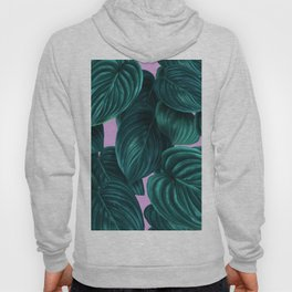 tropical green pattern on pink Hoody