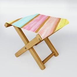 Retro Watercolor Stripes  Folding Stool