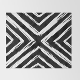 Minimalistic Black and White Paint Brush Triangle Diamond Pattern Throw Blanket