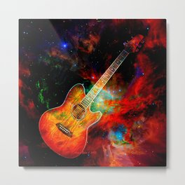 Rockin Guitar Is Out Of This World By Annie Zeno Metal Print