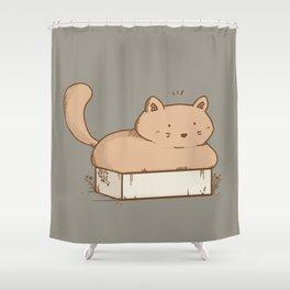 Cat in a cardboard illustration Shower Curtain