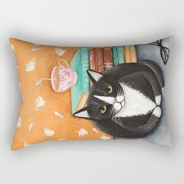 Tuxedo Cat Tea and Books Rectangular Pillow