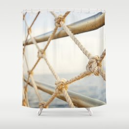 Knot Railing along Dock, Israel Shower Curtain