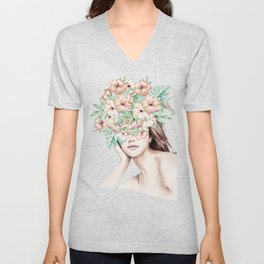 She Wore Flowers in Her Hair Island Dreams Unisex V-Neck