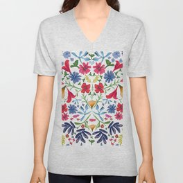 Colorful ditsy floral cheerful pattern white  Unisex V-Neck
