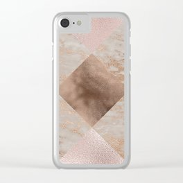 Copper and Blush Rose Gold Marble Gingham Clear iPhone Case