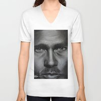 brad pitt V-neck T-shirts featuring Brad Pitt by Future Illustrations- Artwork by Julie C