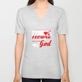 """""""Don't Let Your Heart Be Troubled Trust In God"""" tee design. Makes a nice and awesome gift too!  Unisex V-Neck"""