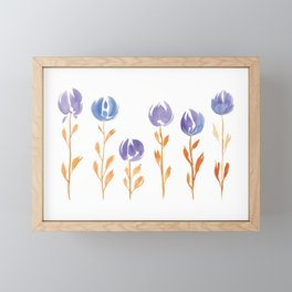 Floral Stems | Orange Blue Framed Mini Art Print