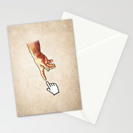 Funny 8bit Nerd & Geek Humor (Creation of Adam Parody) Stationery Cards