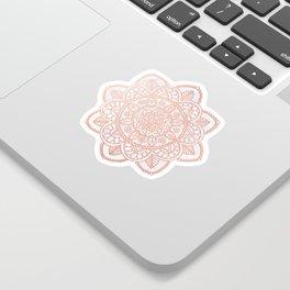 Rose Gold Mandala on White Marble Sticker
