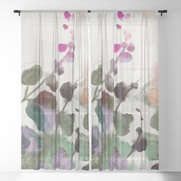 floral abstract summer autumn Sheer Curtain