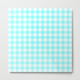Aqua blue gingham pattern Metal Print