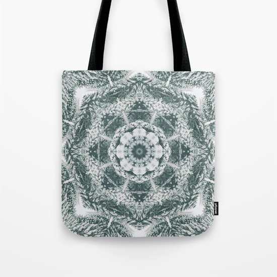 Winter snowy spruce forest mandala Tote Bag