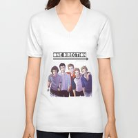 one direction V-neck T-shirts featuring One Direction by Nowhere Little Girl
