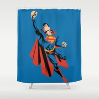 dc Shower Curtains featuring DC - Superman by TracingHorses