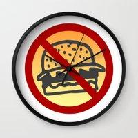 junk food Wall Clocks featuring No Junk Food Zone by Geni