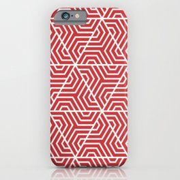Madder Lake - red - Geometric Seamless Triangles Pattern iPhone Case