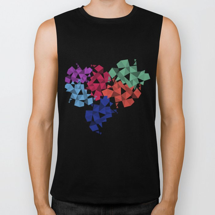 Background of geometric shapes. Colorful mosaic pattern Biker Tank