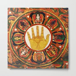 Buddhist Hindu Healing Hand Mandala Metal Print