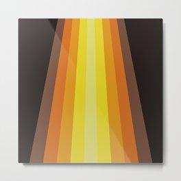 Retro Warm Tone 70's Stripes Metal Print