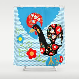 Portuguese Rooster of Luck with blue dots Shower Curtain