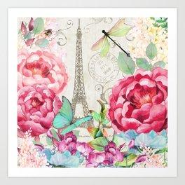 Paris Flower Market garden art Art Print