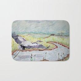 Flight of the Great Blue Heron, Trojan Oregon painting Bath Mat