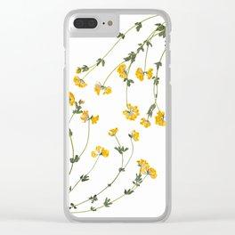 Yellow Lotus Flower Botanical Print Clear iPhone Case