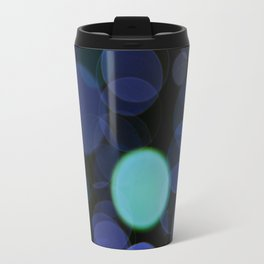 Blue bokeh circles blurry texture Travel Mug