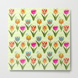 Decorative fantasy tulips on a chevrons background Metal Print