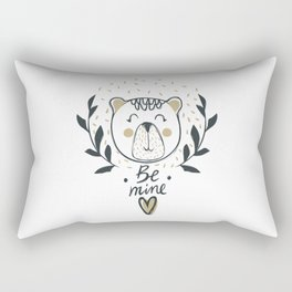 Be Mine Cute Bear Smile - Funny hand drawn quotes illustration. Funny humor. Life sayings. Rectangular Pillow
