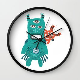 A Pair of Alien Visitors Wall Clock